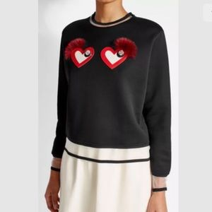 Fendi Black Heart Applique Fox Fur Trim Sweatshirt